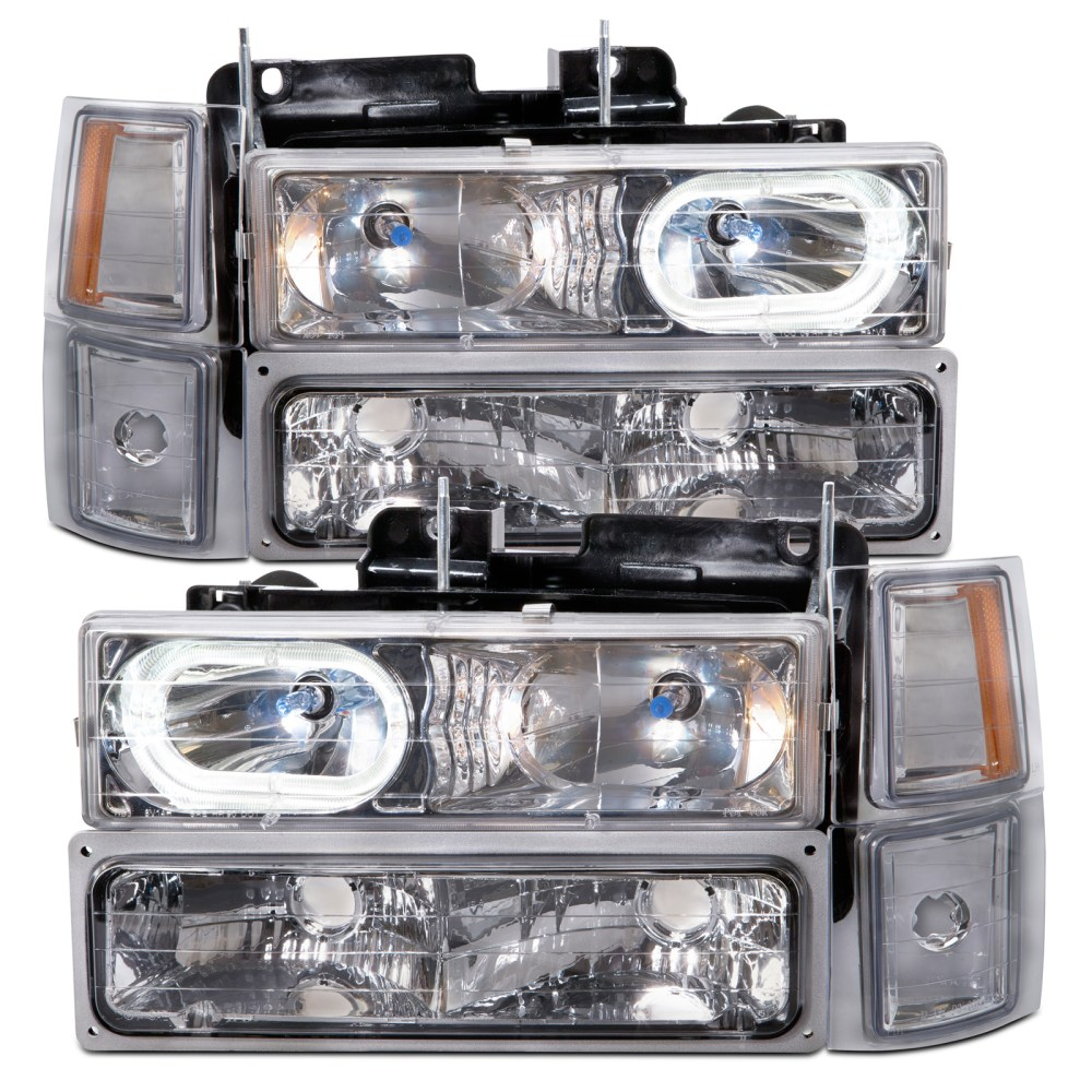 medium resolution of details about headlights chrome halo w xenons 8pc fits 94 95 96 97 98 chevrolet suburban